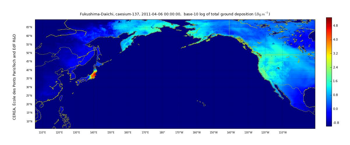 Simulation Map of Cesium-137 Deposition Across the Pacific by CEREA