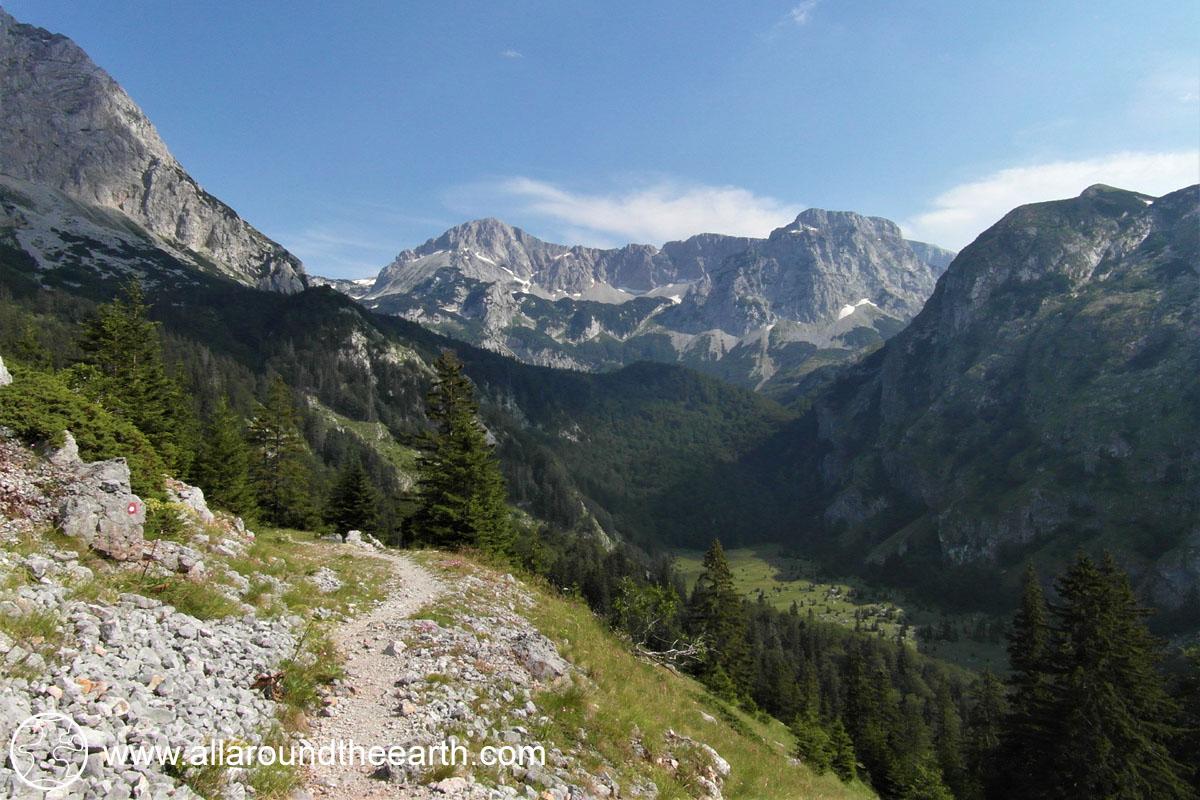 Hiking trail to Lake Trnovačko, Montenegro, from Bosnia Herzegovina Sutjeska National Park, Eastern Europe