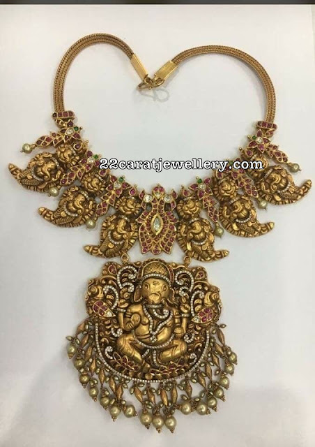 Two Step Nakshi Ganesh Necklace