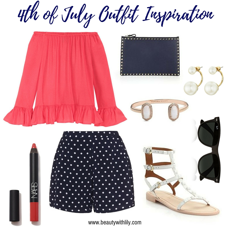 July 4th Outfit Ideas | White Polka Dots with Pops of Red