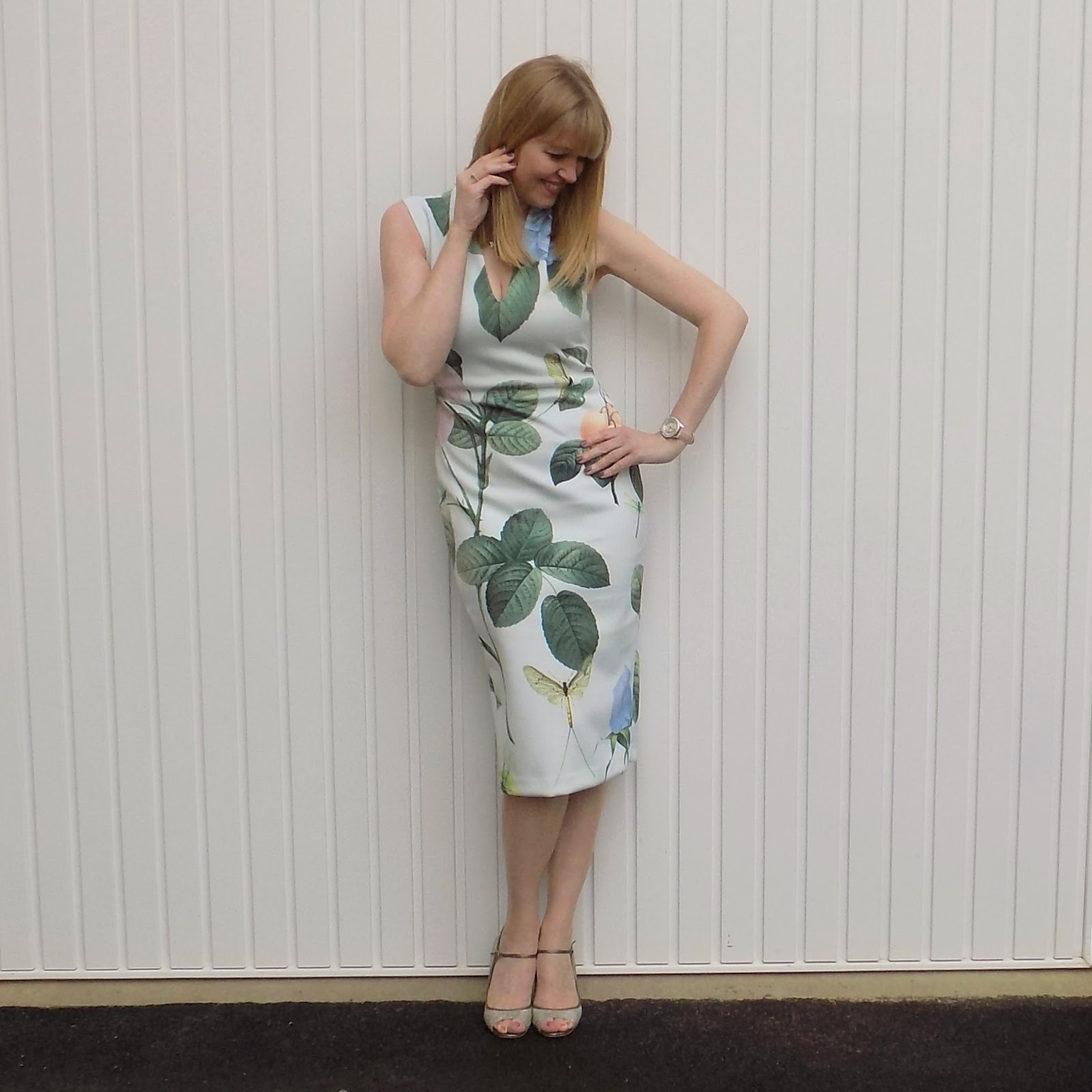 Ted Baker bodycon dress and Jimmy Choos