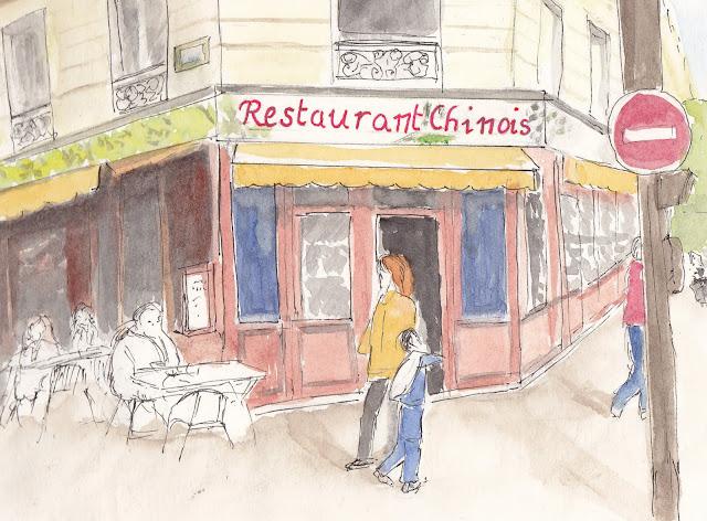 urban sketchers paris le th me de la semaine restaurants chinois. Black Bedroom Furniture Sets. Home Design Ideas