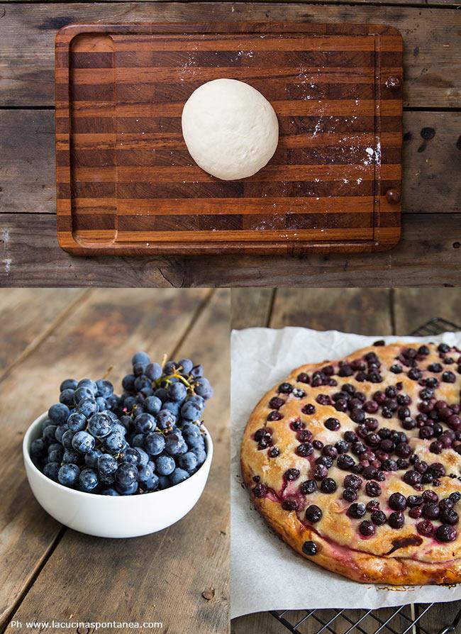 Ingredienti per la realizzazione della schiacciata con l'uva