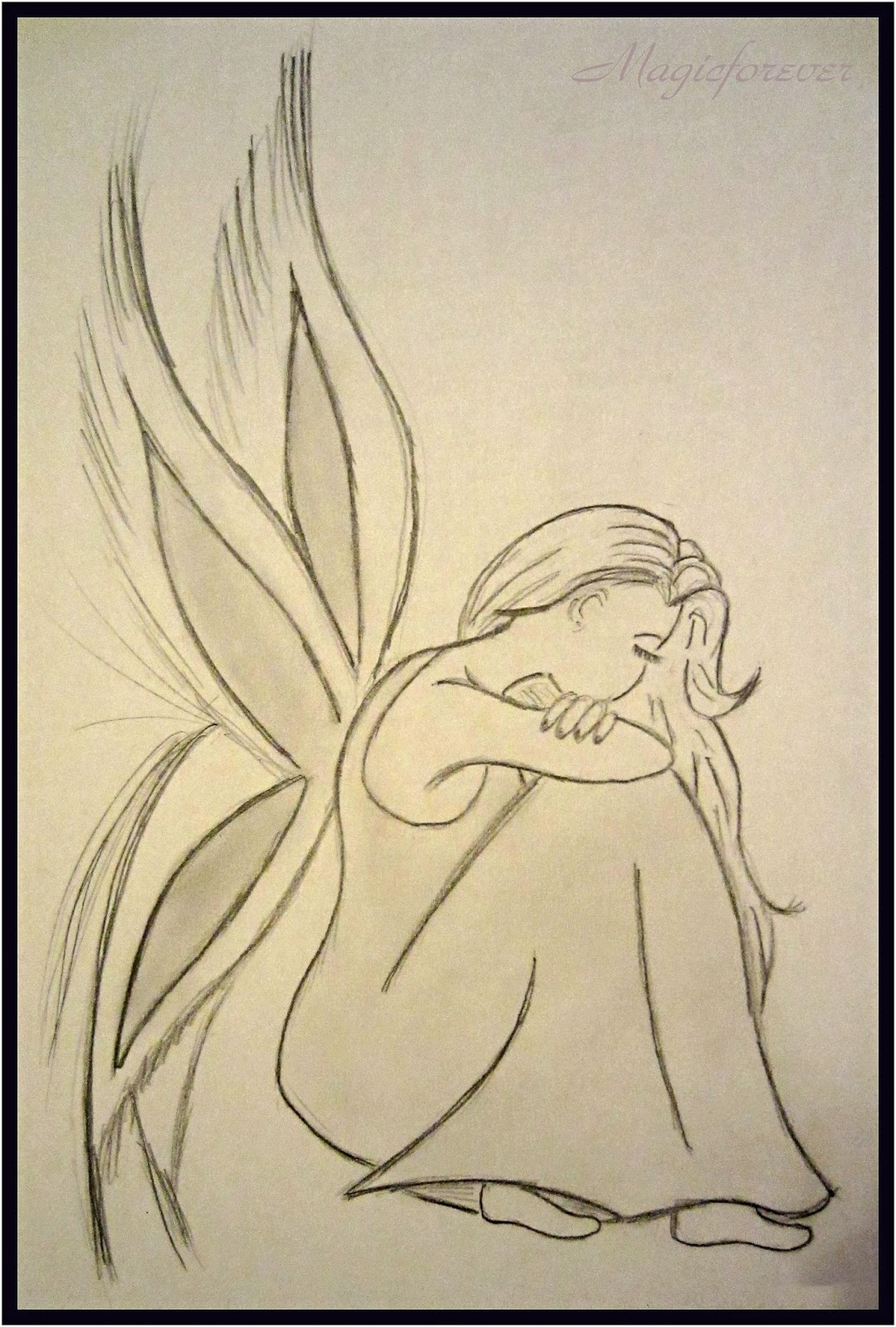 sad girl, draw, my art, fayrie