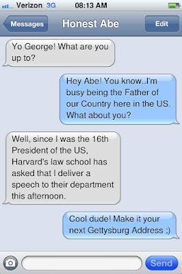 Texting exchange between George Washington and Abraham Lincoln using the digital tool, iFake Text Generator
