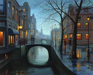 pinturas-ciudades-urbanas-anocheciendo
