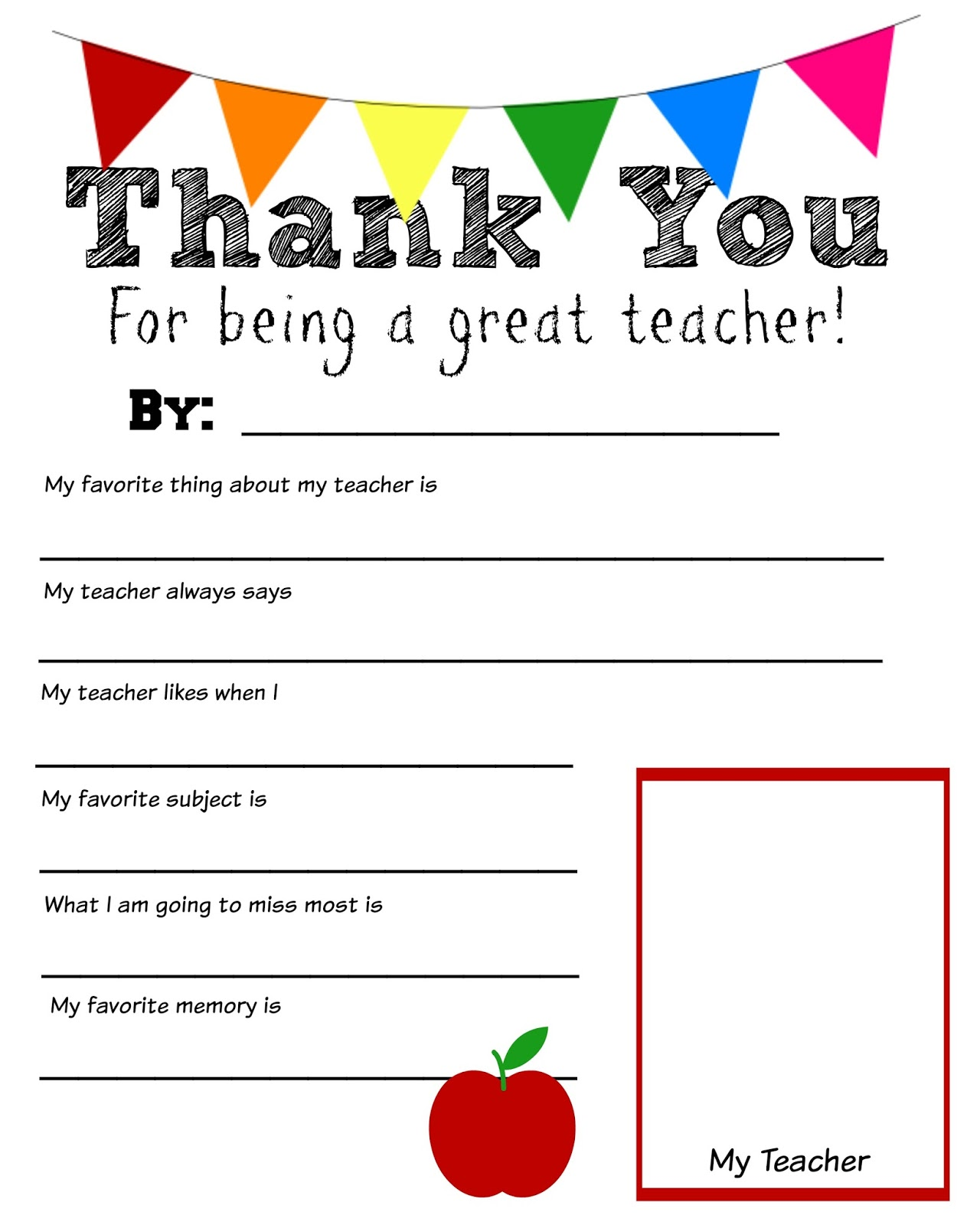 Dynamic image for thank you teacher printable