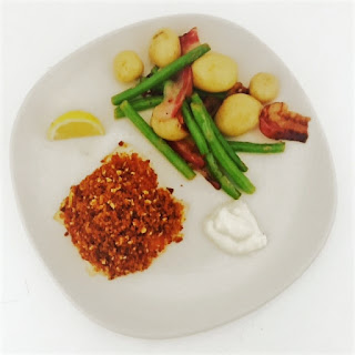 Baked Cod with a Chorizo Crumb served with New Potatoes, Parma Ham & Green Beans and Lemon Aioli