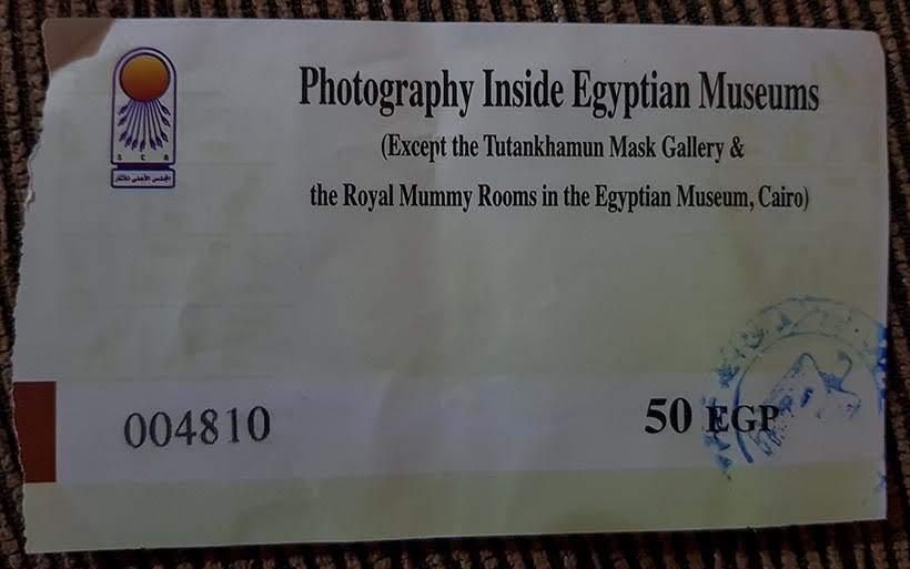 Ingresso para fotografar o Museu do Cairo - Diário de Bordo: 2 dias no Cairo