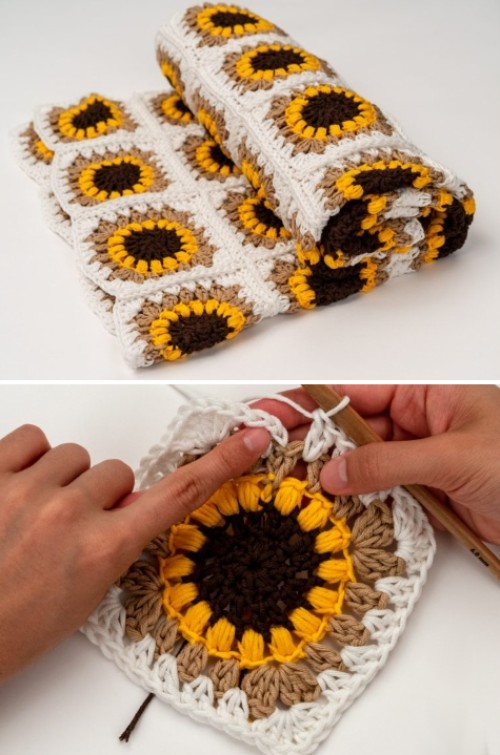 The Sunflower Crochet Blanket - Free Pattern