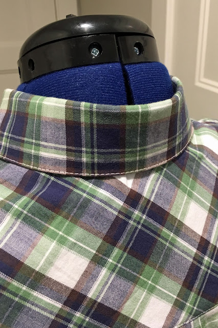 Mood Fabrics' plaid flannel Archer shirts - collar
