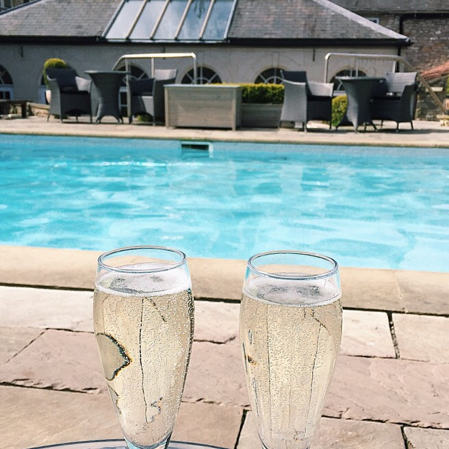 Two glasses of prosecco at Verbena Spa in Helmsley