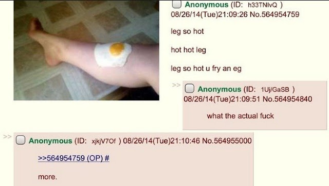 Weird green text about eggs on legs.