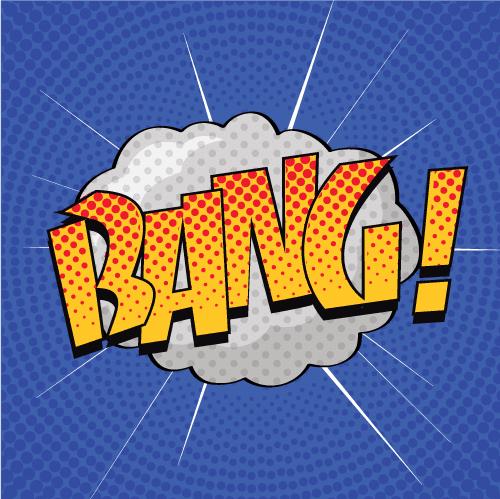 Bang, onomatopeya de cómic o cartoon en colores amarillo y anaranjado y un fondo azul