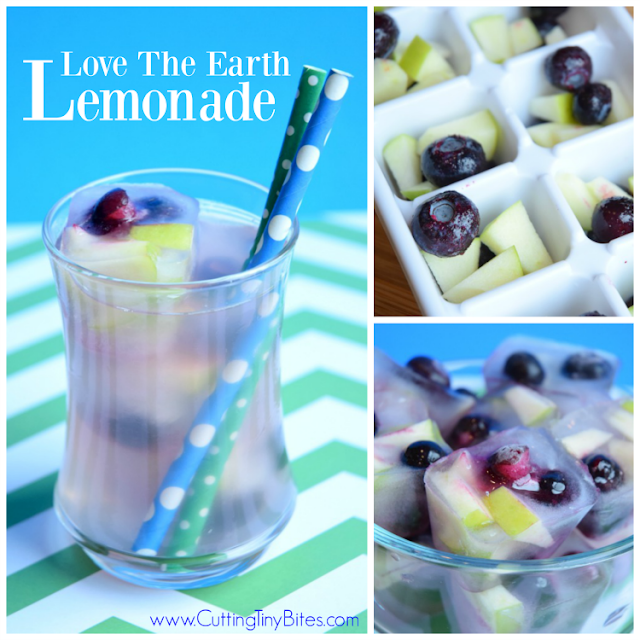 Love The Earth Lemonade.  Light and refreshing drink for Earth Day.  Fruity green and blue ice cubes swirl around to make a healthy treat for kids.  No artificial colors!