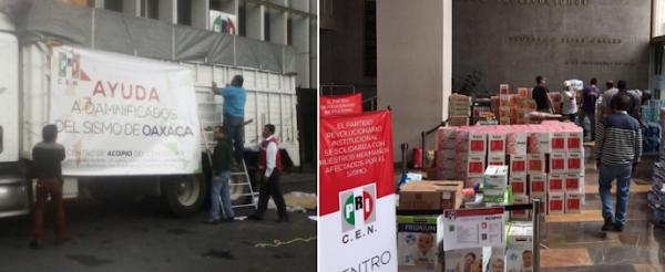 Gobierno priista de Oaxaca le aprieta a damnificados; no reparte ayuda que llega