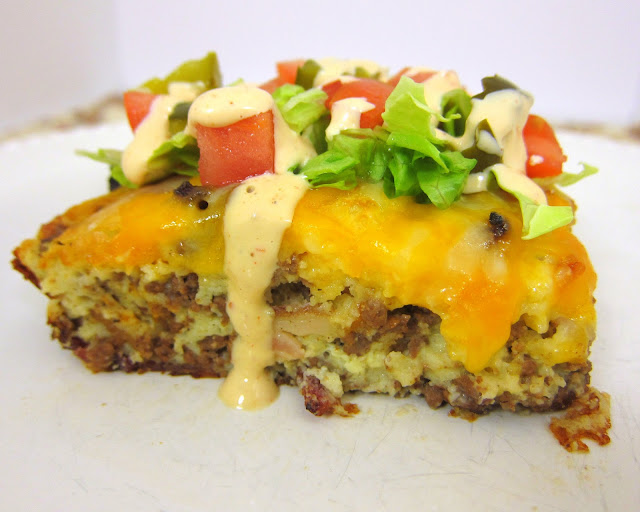 Bacon Cheeseburger Pie - beef, bacon, cheese and a quick Bisquick batter. Top with favorite burger toppings. Quick and easy weeknight meal!