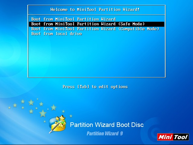 Tampilan depan minitool bootable cd