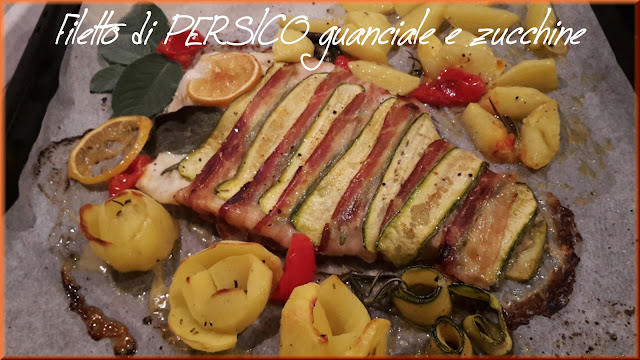 filetto di persico con guanciale e zucchine