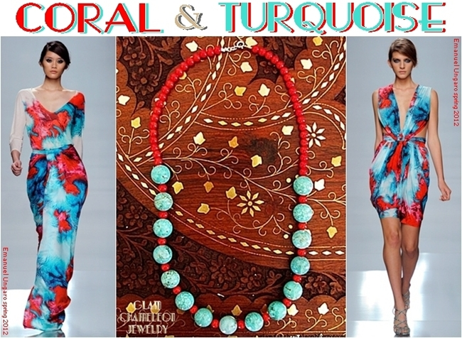 Glam Chameleon Jewelry red coral and turquoise necklace