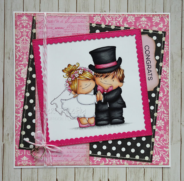 Wedding card featuring Love Story Squidgies by Stamping Bella
