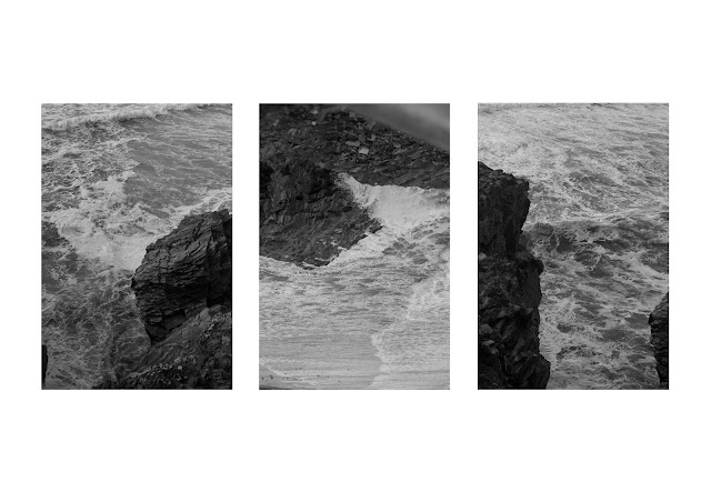 a collage of the polzeth rockface in cornwall