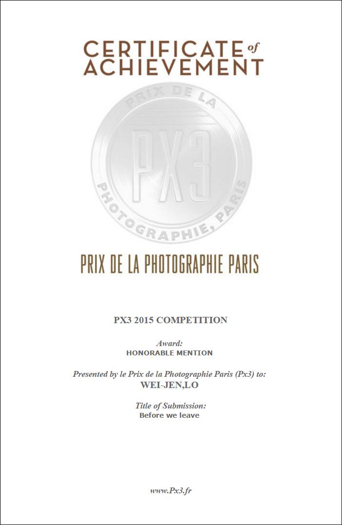 PX3 職業組榮譽獎-肖像-婚禮類證書