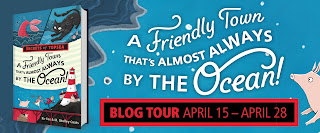blog tour banner for a friendly town that's almost always by the ocean