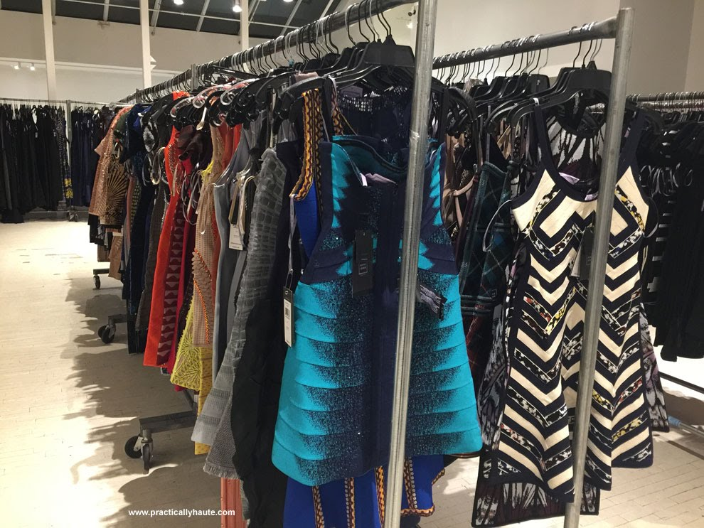 Herve Leger sample sale racks of dresses