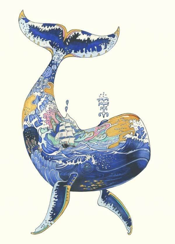 02-Whale-with-the-Ocean-and-the-Ship-Daniel-Mackie-Flora-and-Fauna-Watercolour-illustrations-www-designstack-co
