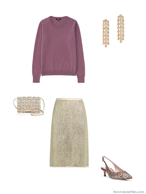 dark pink cashmere crewneck sweater with gold sequined skirt