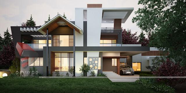 3D Township Rendering Design Of Villas