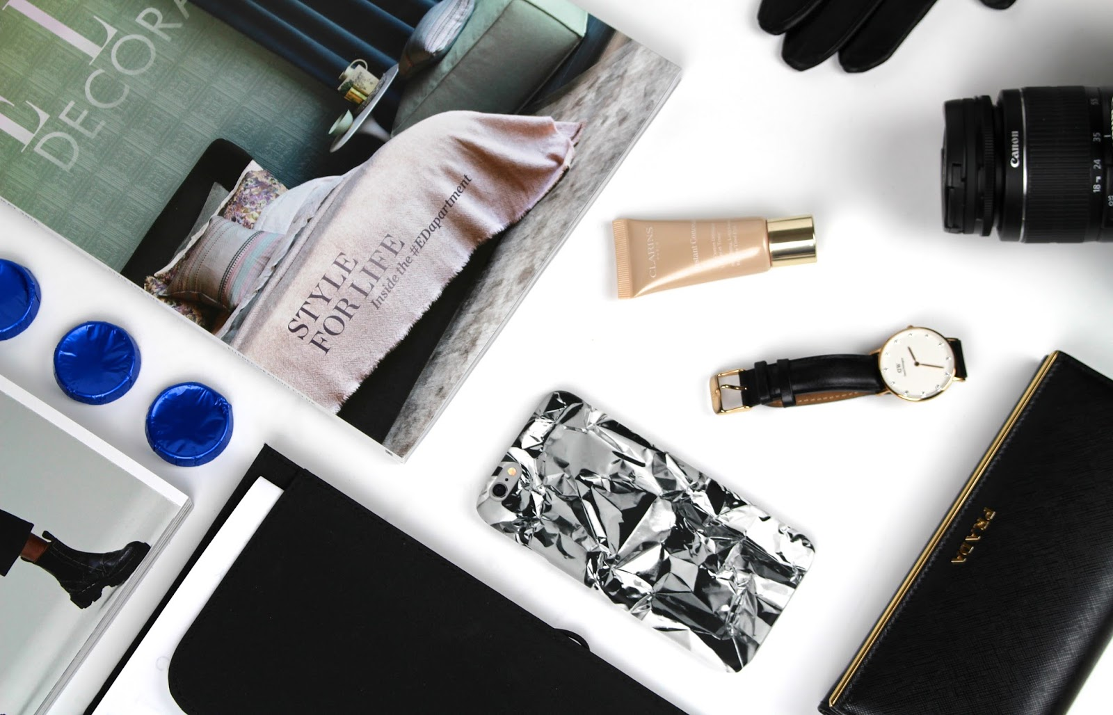 urban flatlay technology beauty fashion