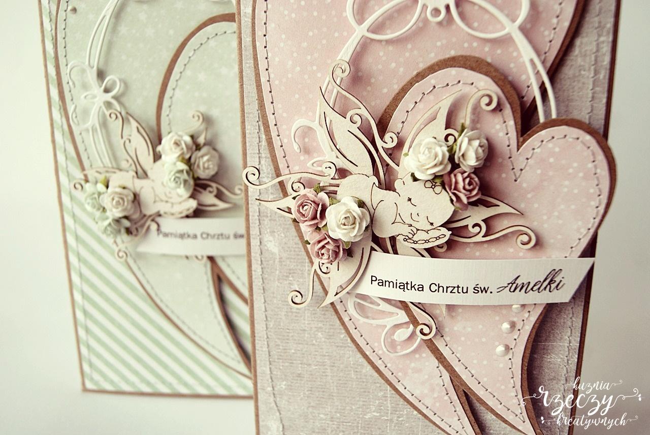 Ręcznie wykonana pamiątka Chrztu św. dla chłopca i dziewczynki.