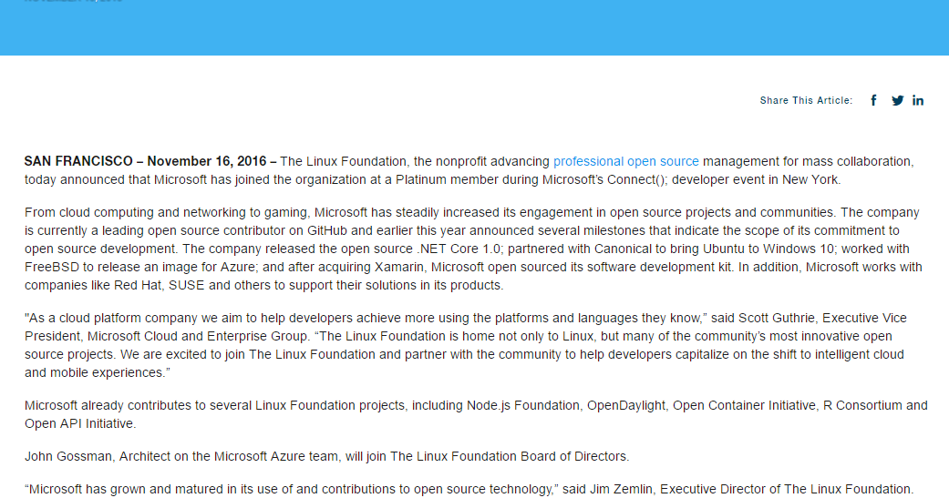 Microsoft entra nella Linux Foundation come Platinum Member