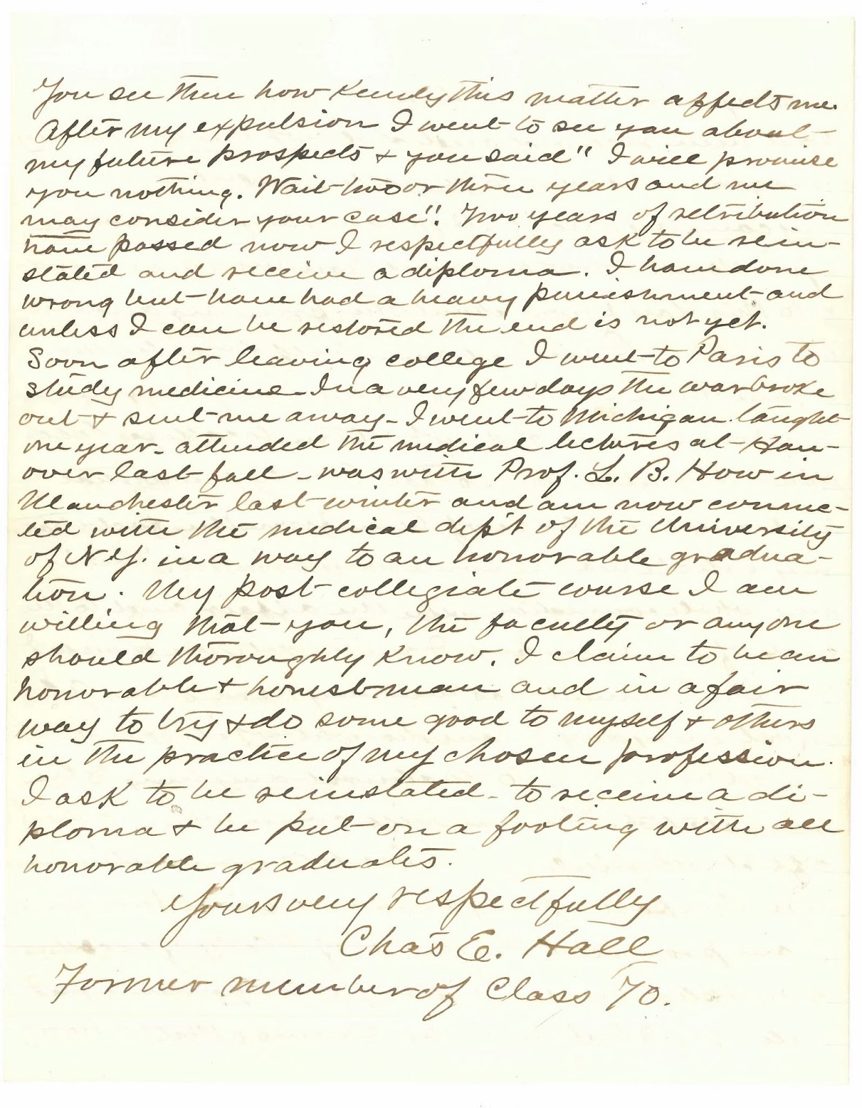 A page from a handwritten letter.
