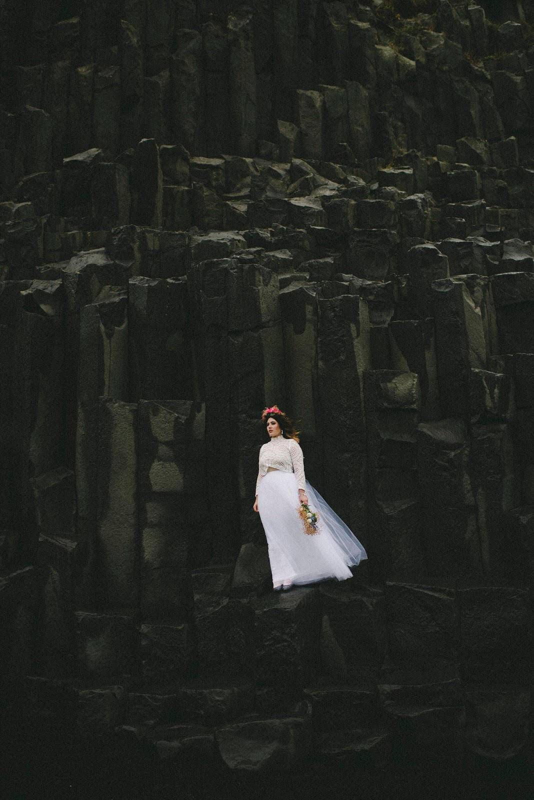 Vík, Reynisfjara, Basalt, Column, Wedding, Elopement, Bridal, Portrait