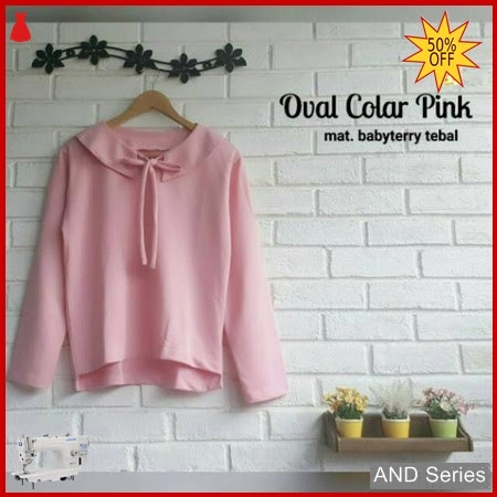 AND210 Sweater Wanita Oval Colar Pink BMGShop