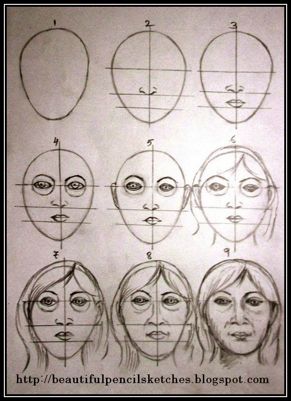 Step by step useful tips on how to draw realistic female face with pencil 190415