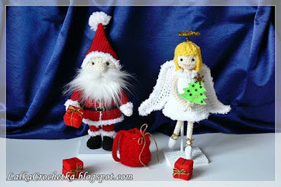 http://lalkacrochetka.blogspot.com.es/2016/12/christmas-angel-and-santa-claus.html?spref=pi