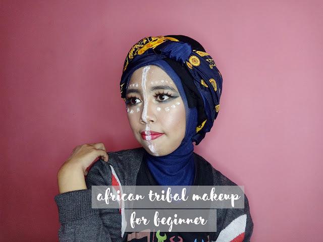 African tribal Makeup Hijab, hijab makeup, african makeup , tribal makeup , http://www.irabintiazhari.com/2018/04/african-tribal-makeup-for-beginner.html