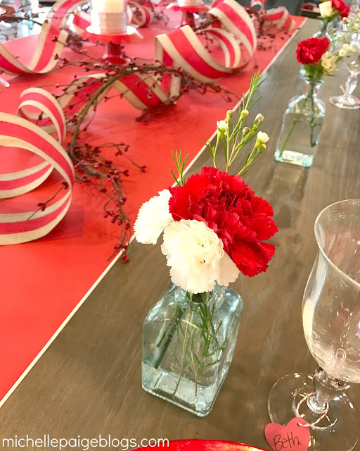Inexpensive tablescape at our Valentine Party.
