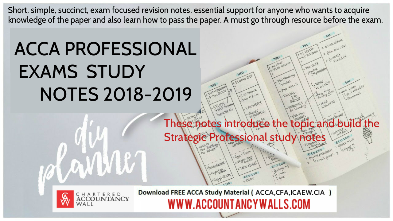 ACCA Professional Strategic level Exams Notes 2018-2019