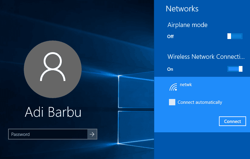 Conectare la rețea din ecranul de login Windows 10