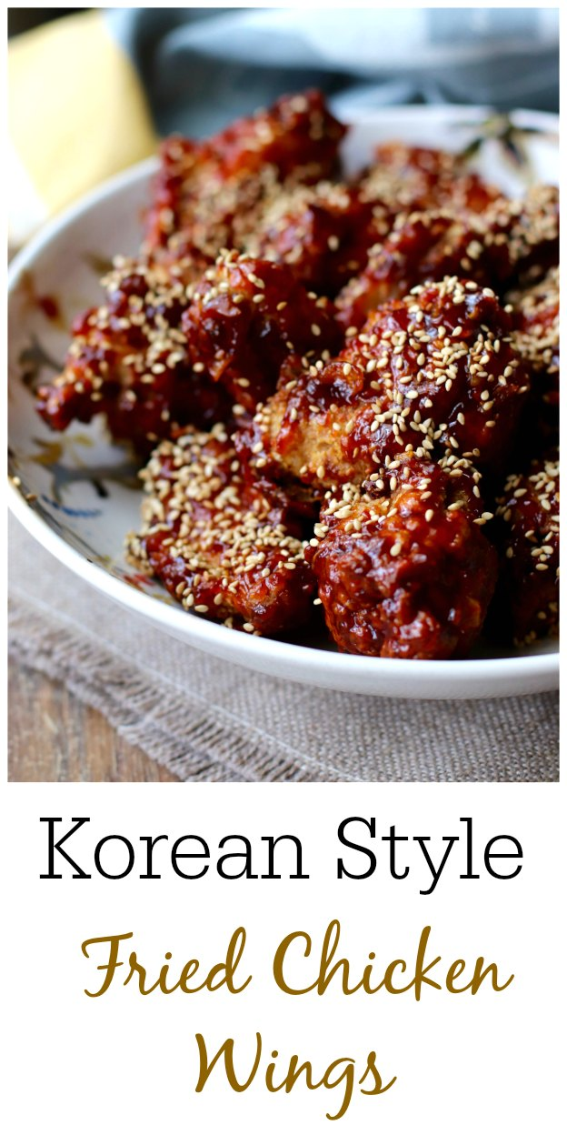 Korean-Style Fried Chicken Wings with gochujang sauce and sesame seeds