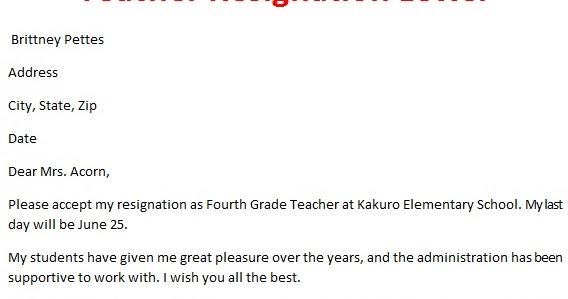 Teacher Letter Of Resignation | Crna Cover Letter. 11+ ...