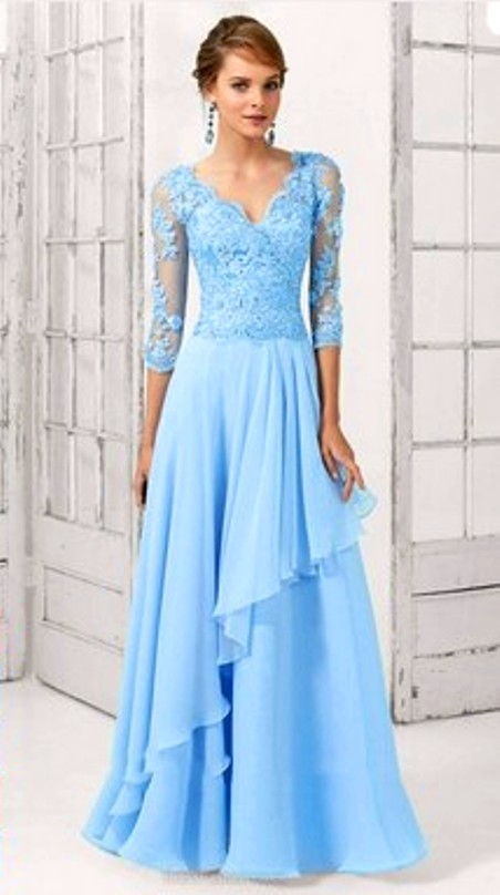Sheath/Column V-neck Sweep Train Chiffon Appliques Lace Evening Dresses-Price: $155.96 ( 55.0% OFF )