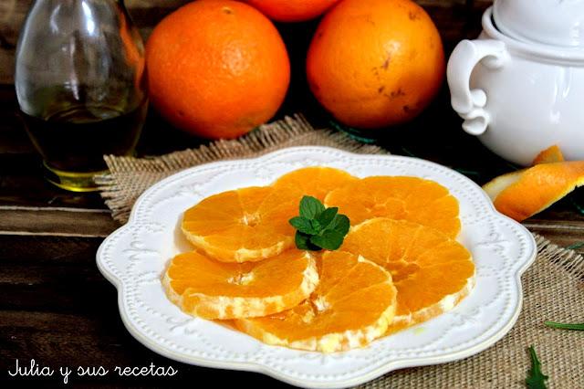 Naranjas con aceite y azúcar. Julia y sus recetas