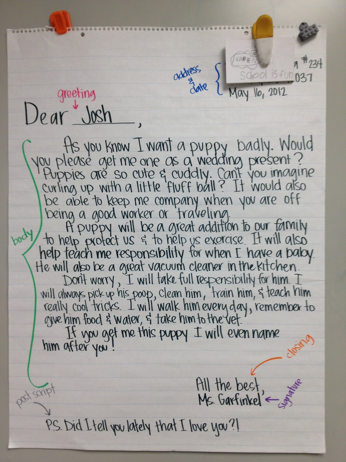 4th grade writing a letter