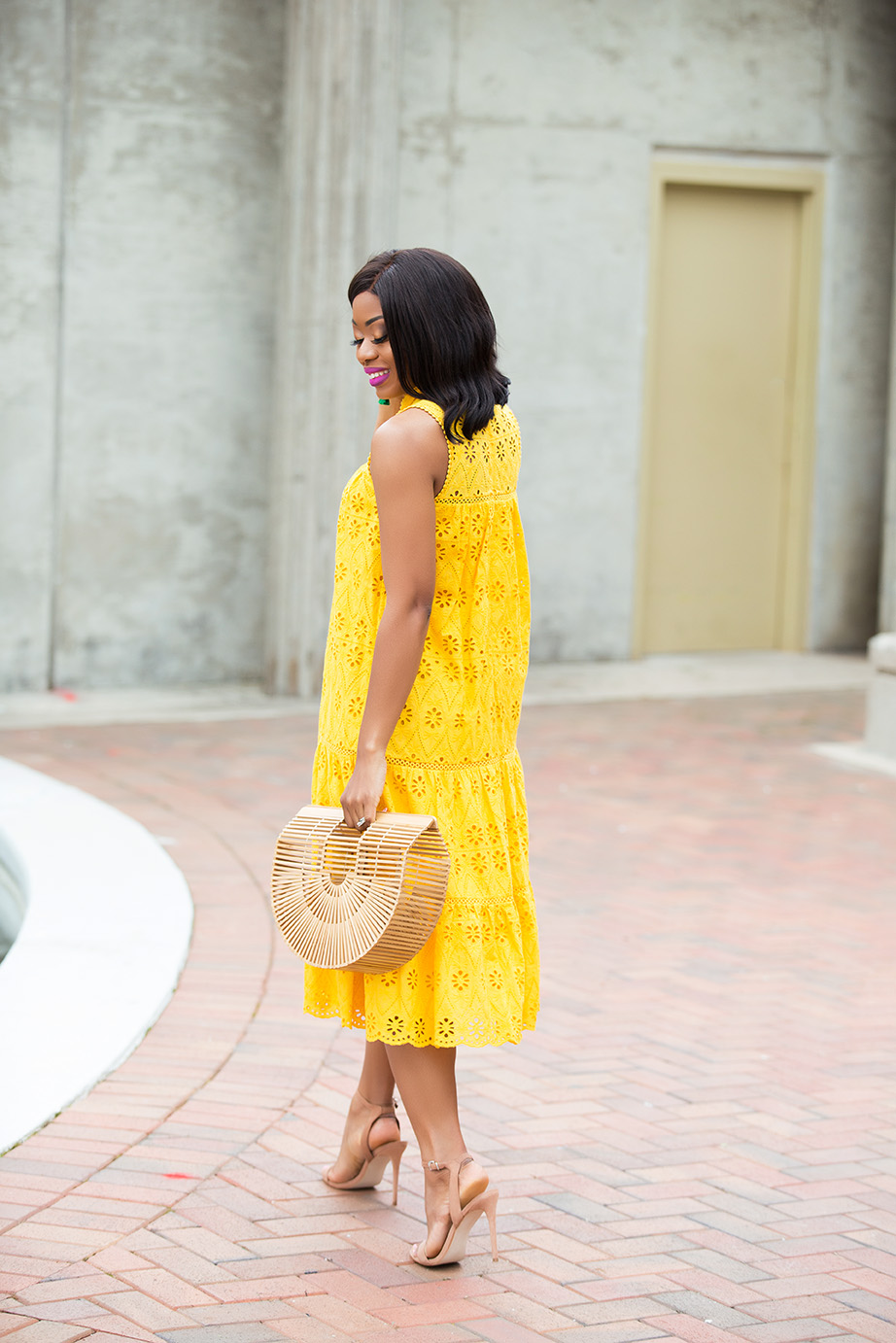 mellow yellow, kate spade eyelet dress, www.jadore-fashion.com